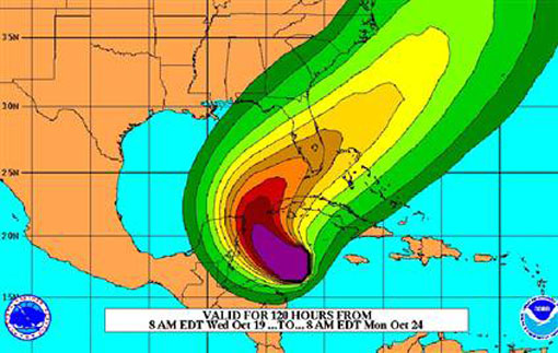 Hurricane Winds Speeds Wind Speed Probability Charts